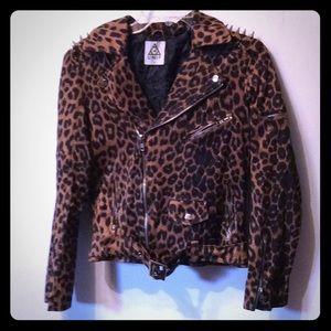 Great mc punk leopard print Unif jacket small