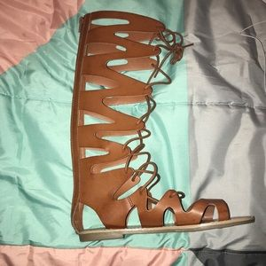 ***TALL BROWN STRAPPY SANDALS***