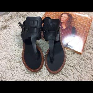 Zara basic leather sandal w/ankle strap 40/10