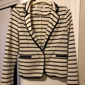 Women's Black and White Striped two button Blazer