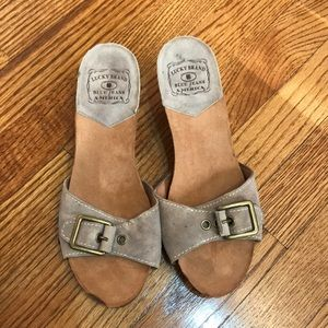 Lucky brand suede and wood heels