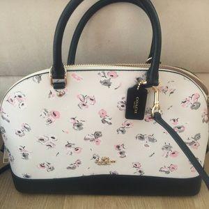 Coach floral leather satchel bag