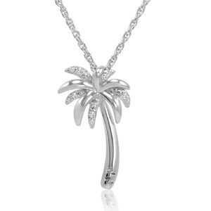 Jewelry - Diamond Sterling Silver Palm Tree Pendant Necklace
