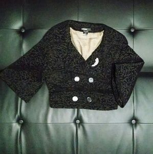 Black Cropped Textured Blazer