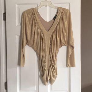 Bebe Gold long sleeve tunic shirt, size small