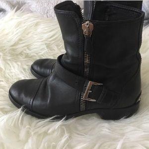 Authentic Miu Miu black leather moto biker boots