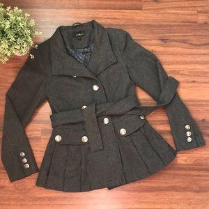 Forever XXI pleated bottom regiment gray coat