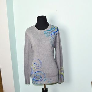 Super Cute Grey and Blue Swirl Detail Top