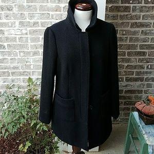 Ann Taylor LOFT Black Wool Textured Coat