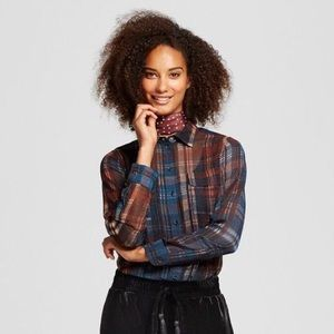 NWT who what wear Sheer Plaid Blouse Sz S