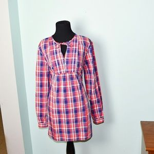 Beautiful Red and Blue Plaid Print Tunic