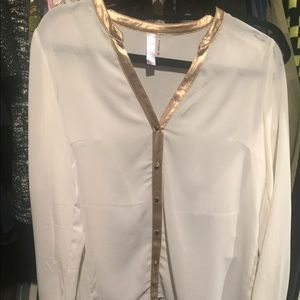 Gorgeous sheer off white and gold button down M