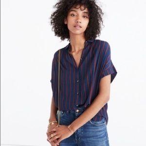 Madewell central drapey shirt in Cornelia Stripe