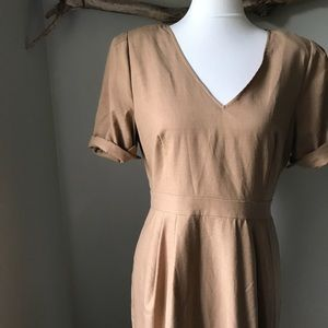J. Crew Lightweight Wool Tan Sheath Dress