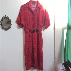 Vintage Positive Influence Red Sleeved Dress sz 4