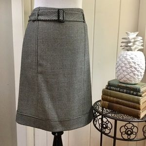 TALBOTS Black & White Wool Houndstooth Skirt