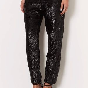 NWT TOPSHOP BLACK SEQUIN PANTS SZ4