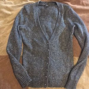 Express gray/gold sparkle accent sweater size S