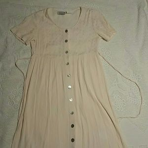 Vintage light pink button up dress small