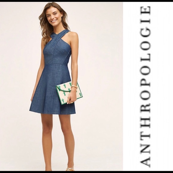 Anthropologie Dresses & Skirts - Anthropologie Denim Halter Dress