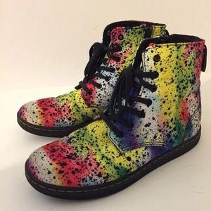 Doc Dr Martens Marley Rainbow Splatter Boots Sz 5
