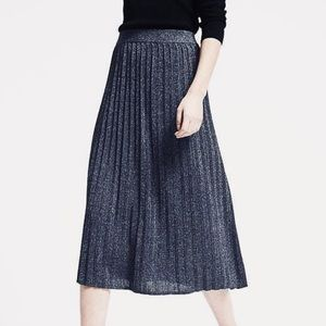 Midi blue metallic pleated skirt- medium