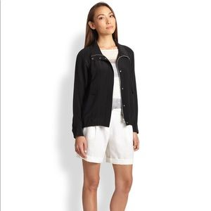 Eileen Fisher Silk Bomber Jacket Black