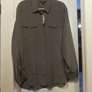 Banana Republic Grey Silk Blouse