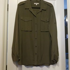 Banana Republic Army Green Silk Blouse