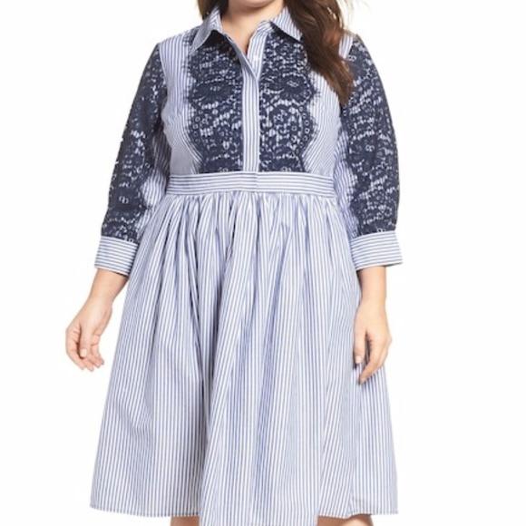 e51a979b721 NWT Eliza J Poplin Shirt Dress (Plus Size) 22W