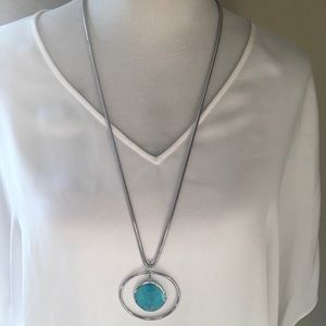 Aqua and Silver Rope Chain Statement Necklace
