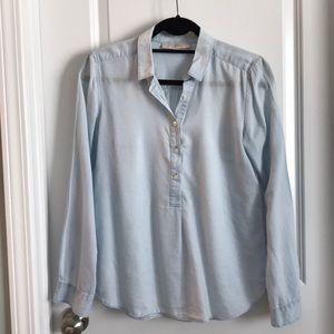 Ann Taylor LOFT jean chambray shirt top blouse XS