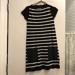 Zara black and white dress w/ leather pockets