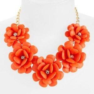 Nordstrom Orange Flower Statement Necklace 2013