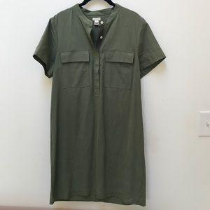 J. Crew Olive / Army Green Mandarin Collar Dress