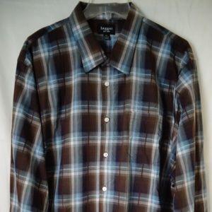 Haggar Mens Plaid Shirt Brown/Blue XXL 18 1/2 #41