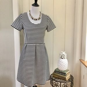 J CREW Black & White Striped Fit & Flair Dress
