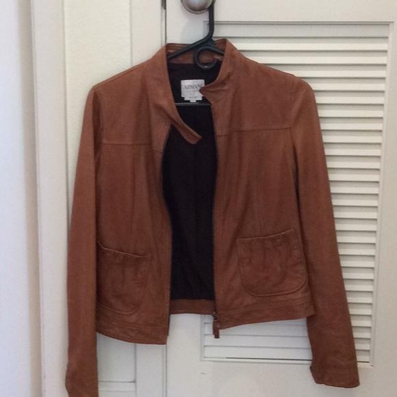 979238bb0c42 Armani Collezioni Jackets & Coats | Brown Leather Jacket Size 4 ...