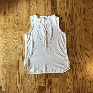 Banana Republic cream sleeveless blouse, size M