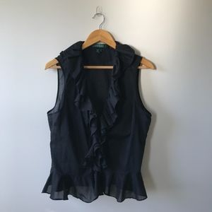 Ralph Lauren Black Ruffled Sleeveless Blouse 16