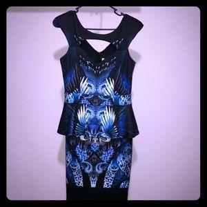 Gorgeous print design peplum dress