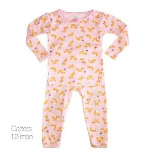 Carters Pink Fox Long Sleeve Pj Set 12 Mon