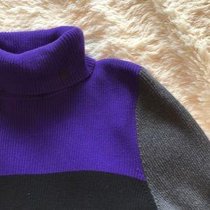 Lauren by RL Color block Turtleneck Sweater