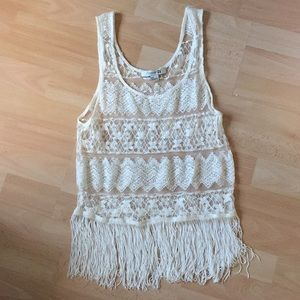 Free people look for less ✌🏼Lace fringe tank