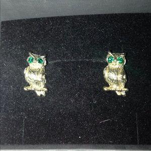 Retro green eyed owl studs