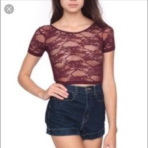 American Apparel lace crop top