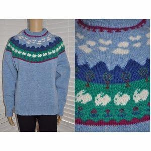 Vintage Fair Isle Bunny Wool Pullover Sweater