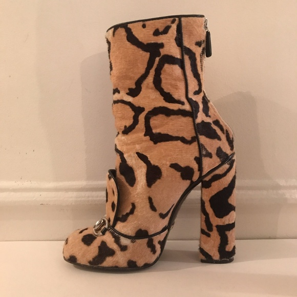 b80d756a6 Gucci Shoes | Lillian Horsebit Ponyhair Leopard Boot | Poshmark
