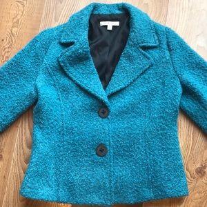 CABI Teal Wool Blend Boulce 3/4 Blazer #186