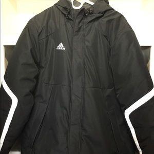 Adidas super heavyweight jacket. Black/White small
